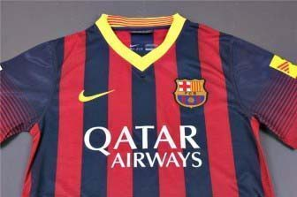 Qatar Airways logo on FC Barcelona kit