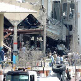 The aftermath of a gas explosion that killed 11 people on Feb. 27, 2014 in Duhail.