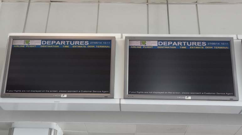 After HIA officially opened before 10am, Doha International Airport cleared its flight information sign boards.