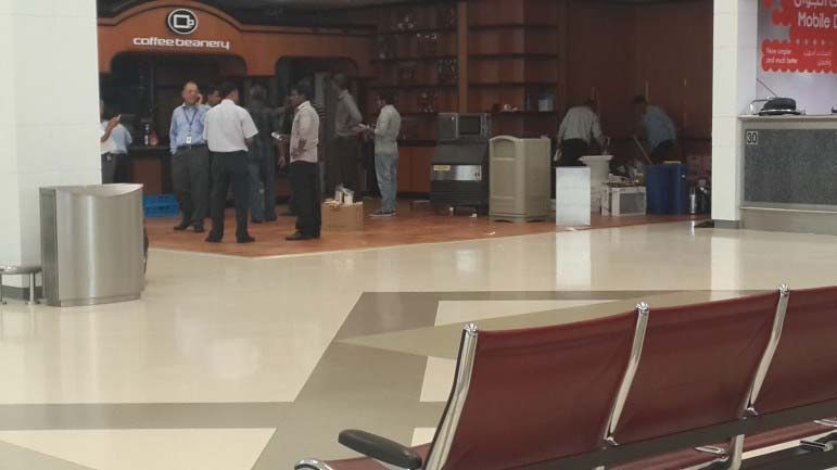 The Coffee Beanery at the Arrivals terminal of the Doha International Airport was being completely dismantled today, as movers shifted furniture into large trucks.