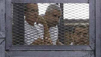 A file photo of the three Al Jazeera journalists jailed in Egypt.