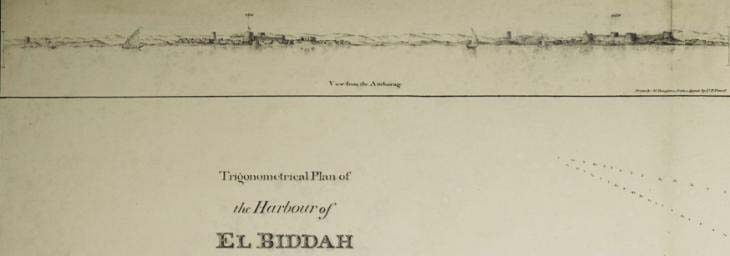 Detail from the trigonometrical plan of the harbour of El Biddah on the Arabian side of the Persian Gulf.