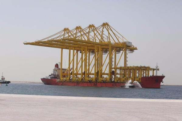 The ship nearing port in Qatar