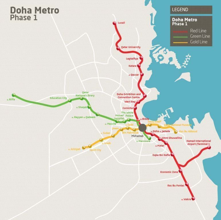 green line extension map with Qatar Rail Doha Metros Mshereib Station Among Worlds Largest on Proposed MBTA Green Line extension also The Daft Ie Dart Luas House Price Map By Stop moreover The evolution of the ttc subway map furthermore Utp Cable For Telephone Line Possible moreover List of Delhi Metro stations.