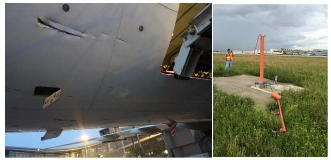 Photos of damage to aircraft and approach lights in Miami