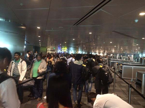 Queueing for immigration at Hamad International Airport
