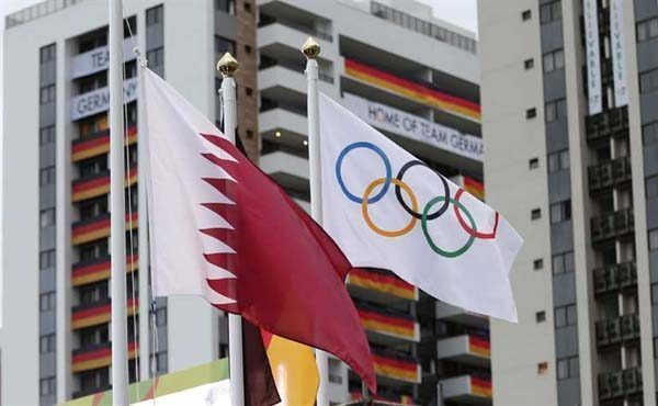 Qatar and Olympic flag